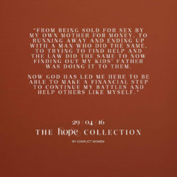 One of the anonymous tags that accompany Hope Collection pieces.