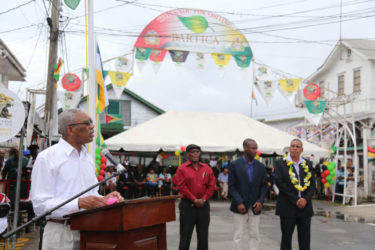 President David Granger speaking at the official launching of Bartica as a town yesterday. (Photo by Keno George)