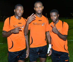Demolition Crew- Slingerz FC marksmen from left to right Domini Garnett, Julian Wade and Trayon Bobb following their exploits against Fruta Conquerors in the GFF Stag Beer Elite League at the Leonora Sports Facility