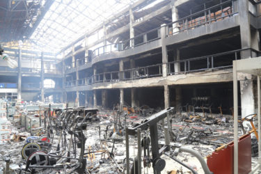 The inside of the main building which was severely damaged as a result of Monday's fire. (Keno George photo)