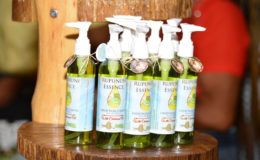 A few bottles of the Rupununi Essence Luxury Facial Cleanser on display. (Ministry of the Presidency photo)