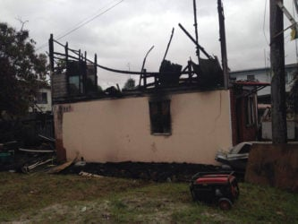 A side view of the house after the fire.