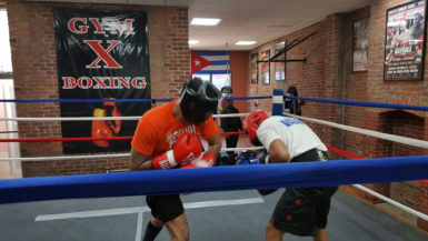Jermin King (left) sparring last week at the Gym X training facility.
