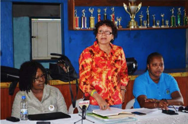 From left, Minister within the Ministry of Health, Dr. Karen Cummings; Minister within the Ministry of Indigenous Peoples' Affairs, Valerie Garrido-Lowe and Minister within the Ministry of Public Infrastructure, Annette Ferguson addressing stakeholders in Region Nine. (GINA photo)