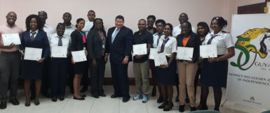 Mexican Ambassador to Guyana, Ivan Sierra (centre) with the students