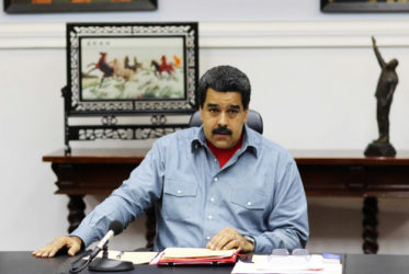 Venezuela's President Nicolas Maduro attends a Council of Ministers meeting at Miraflores Palace in Caracas, Venezuela May 13, 2016. Miraflores Palace/Handout via REUTERS
