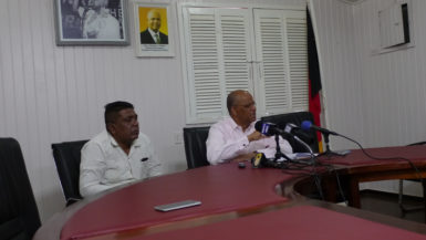 General Secretary of the PPP, Clement Rohee (right) and Executive Secretary Zulfikar Mustapha during the press conference