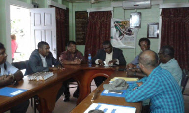 The APNU+AFC councillors in the boardroom yesterday