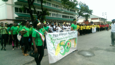 A section of the trainee teachers assembled on the CPCE tarmac minutes before the parade on Friday.