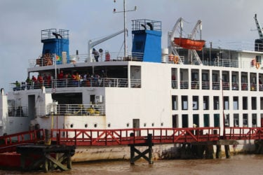The ferry moored at Good Hope stelling