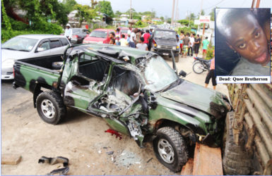 The wrecked army vehicle after the accident (Keno George photo)