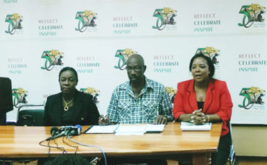 From left are Junior Education Minister Nicolette Henry, Independence Activities Coordinator Lennox Canterbury and Media Coordinator Carolyn Walcott.