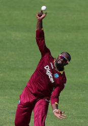 Off-spinner Ashley Nurse … claimed three wickets for West Indies.