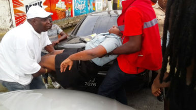The policewoman being taken for treatment