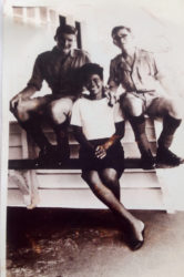 Edward John Constant (left) photographed along with Una Bullen, who was then the typist for the battalion headquarters in Georgetown, and Lance Corporal Pedley of the Middlesex Regiment (1966).