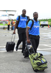 Hard-hitting all-rounder Carlos Brathwaite and his fellow Barbadian/West Indies teammate Jonathan Carter arriving at Ogle