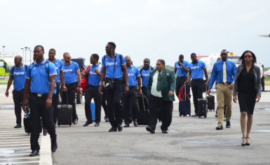 The West Indies 50 over team along with Director of Sports Christopher Jones, Guyana Cricket Board (GCB) President Drubahadur and Digicel Head of Marketing Jacqueline James during the team's arrival at Ogle For the Tri Nation series.