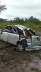 The mangled car, PSS 9432, after the accident.