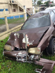 Motor vehicle PGG 5099 which was parked and which the police constable slammed into after hitting Sealey.