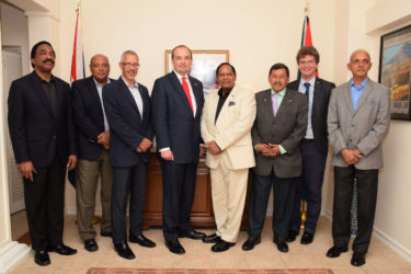 Prime Minister Moses Nagamootoo (fourth from right) and Parliamentary Under-Secretary of State at the UK's Foreign & Commonwealth Office James Duddridge (fifth from right) at a dinner yesterday at the residence of UK High Commissioner Greg Quinn (second from right). Also in photo from right are Minister of Communities Ronald Bulkan, Minister of Indigenous People's Affairs Sydney Allicock, Minister of Business Dominic Gaskin, Minister of Natural Resources Raphael Trotman and Attorney General Basil Williams. (Office of the Prime Minister photo)