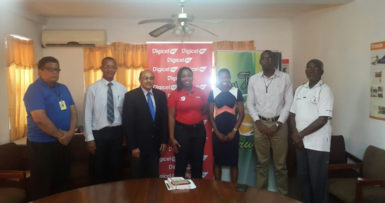 Four-time Olympian, Aliann Pompey (third from right) poses for a photo with the principals of the Aliann Pompey Invitational yesterday at Olympic House.