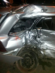 The mangled motorcar, PTT 2372 after the accident.