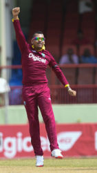 Off-spinner Sunil Narine celebrates another wicket during Friday's four-wicket victory over South Africa. (Photo courtesy WICB Media)