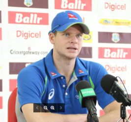 Australia Captain Steve Smith speaking during yesterday's pre match press conference held at the Providence Stadium, Guyana.