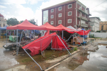 Some of the broken tents in the compound