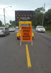 Two of the signs at the starting of the construction.