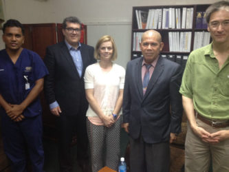 In photo from left are: Head of the Emergency Department at the GPHC, Dr. Zulfikar Bux; Chapter President of RAD-AID at Northwell Health, Dr. David Axelrod; Director of RAD-AID Latin America, Dr. Gillian Battino; Public Health Minister, Dr. George Norton and Manager of Equipment Implementation at RAD-AID, Dr. Berndt Schmit. (Ministry of Health photo)