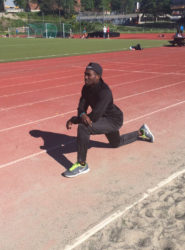 Troy Doris going through his paces while training yesterday ahead of today's Exxon Mobil Bislett Games in Oslo, Norway, the seventh of the 14 Diamond League meets this season.