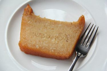 A slice of no-grate Cassava Pone (Photo by Cynthia Nelson)