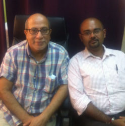 Sonologist Dr Syed Ghazi (left) and Oncologist Dr Sayan Chakraborty (right) of the Cancer Institute of Guyana