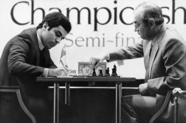 As Soviet grandmaster Viktor Korchnoi (right) completed his moves during the 1983 World Chess Championship semifinal in London, Garry Kasparov took notes, according to the New York Times. At 85, Korchnoi passed on in Switzerland on June 6.