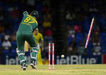 Kyle Abbott is spectacularly bowled by Mitchell Starc during Saturday's Tri-Nations Series game at Warner Park.