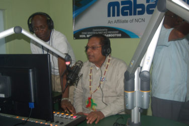 Prime Minister Moses Nagamootoo took a seat in the broadcaster's chair on Saturday as he commissioned Radio Mabaruma.