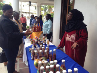 The participants displaying their products at a mini exhibition