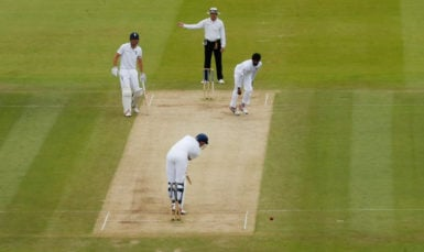 Alex Hales is bowled by Nuwan Pradeep of Sri Lanka who was later adjudged to have overstepped the bowling crease but television replays showed that the delivery was a legitimate one.