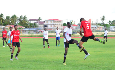 Action between West Demerara Secondary and Patentia Secondary in the Digicel Schools Football Championship at the Leonora Sports Facility