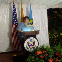 Outgoing Deputy Chief of Mission Bryan Hunt speaking last night