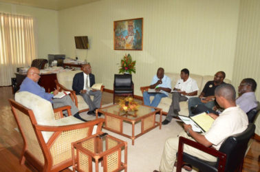 Minister of State, Joseph Harmon (with tie) conducting the Mocha Arcadia development meeting. (Ministry of the Presidency photo)