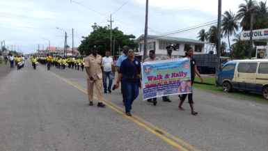 Walking from Williamsburg to Port Mourant, Corentyne, Berbice on Friday before the rally