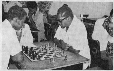 Prime Minister Forbes Burnham engaging member of the Guyana Chess Federation John Lewis over a game of chess at his Vlissengen Road residence in 1975. Burnham established the Guyana Chess Association in 1972.