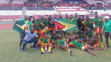 The Guyana team after their victory yesterday.