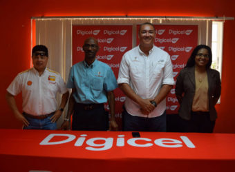 Members of the GSA sanctioned Digicel Senior Squash Championship launch party from right to left- Digicel Communications Manager Vidya Bijlall-Sanichara, GSA President David Fernandes, GSA Executive Garfield Wiltshire and Robin Lowe. *