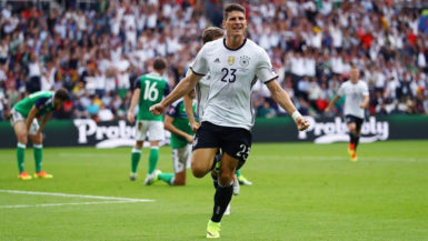 Mario Gomez exults after his first-half goal which turned out to be the game winner.