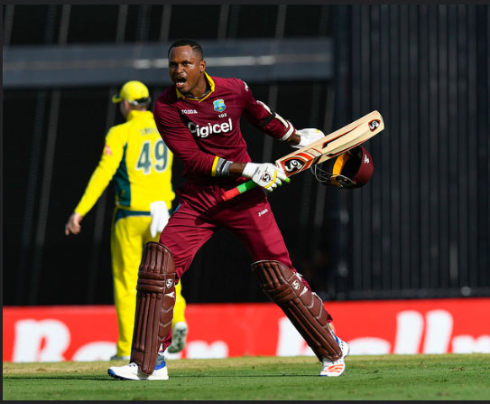 PUMPED UP!  Marlon Samuels celebrates his 10th ODI century and first against Australia. (photo courtesy of WICB media)