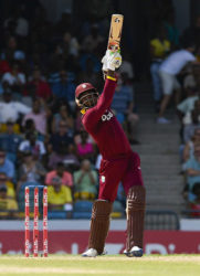 Marlon Samuels hits straight during his superb 125 against Australia on Tuesday. (Photo courtesy WICB Media)
