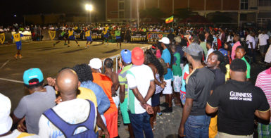 Part of the action in the Guinness 'Greatest of the Streets' National Championship between Showstoppers (green) and Wisroc (yellow) at the National Cultural Centre tarmac